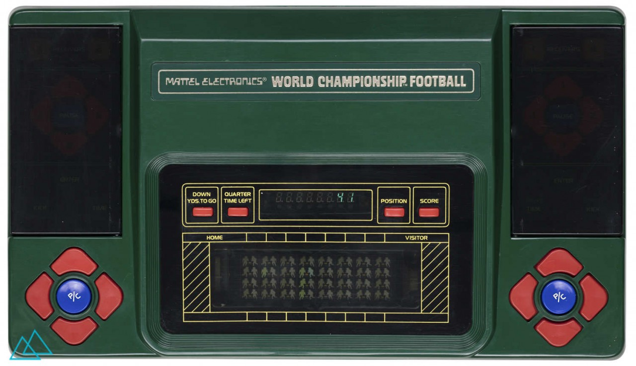 Top view dedicated video game console handheld Mattel Electronics World Championship Football